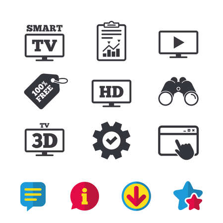 Smart TV mode icon. Widescreen symbol. High-definition resolution. 3D Television sign. Browser window, Report and Service signs. Binoculars, Information and Download icons. Stars and Chat. Vector