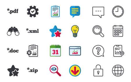 Document icons. File extensions symbols. PDF, ZIP zipped, XML and DOC signs. Chat, Report and Calendar signs. Stars, Statistics and Download icons. Question, Clock and Globe. Vector