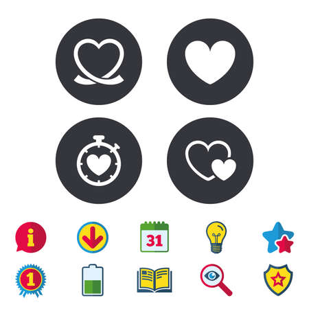 Heart ribbon icon. Timer stopwatch symbol. Love and Heartbeat palpitation signs.