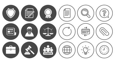 Lawyer, scales of justice icons. Clients, auction hammer and law judge symbols. Ilustração
