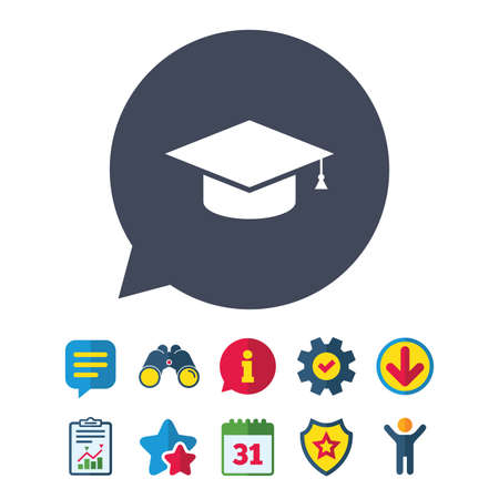 Graduation cap sign icon. Higher education symbol.