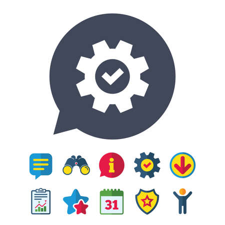 Service icon. Cogwheel with tick sign. Check symbol. Illustration