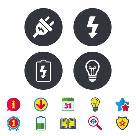 Electric plug icon. Lamp bulb and battery symbols. Low electricity and idea signs.