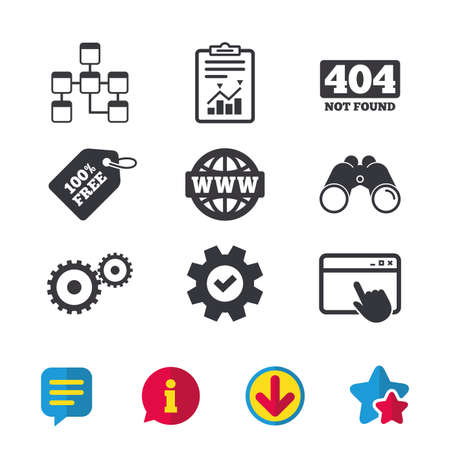 Website database icon. Internet globe and gear signs. 404 page not found symbol.