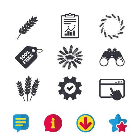 Landbouw pictogrammen. Glutenvrij of geen gluten tekenen.