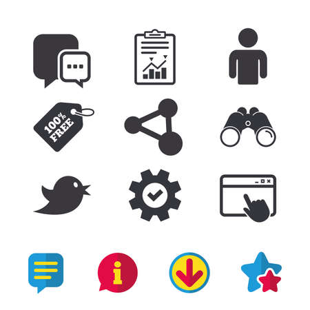 Social Media Icons Chat Speech Bubble And Bird Chick Symbols