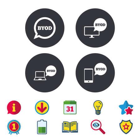BYOD アイコン。ノート パソコンとスマート フォンの看板。音声バブルの象徴。カレンダー、情報およびダウンロードに署名します。星、賞および本