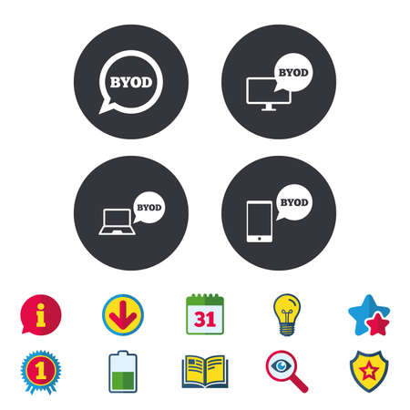 BYOD icons. Notebook and smartphone signs. Speech bubble symbol. Calendar, Information and Download signs. Stars, Award and Book icons. Light bulb, Shield and Search. Vector Illustration
