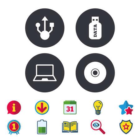 Usb フラッシュ ドライブのアイコン。ノートブックまたはラップトップ pc のシンボル。CD または DVD の符号。