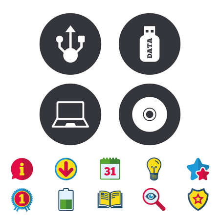 Usb flash drive icons. Notebook or Laptop pc symbols. CD or DVD sign.