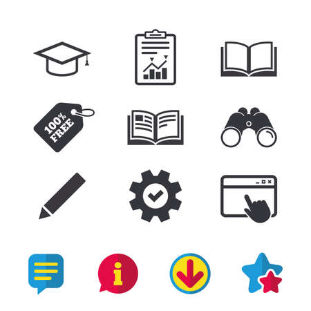 Pencil and open book icons. Graduation cap symbol. Higher education learn signs.