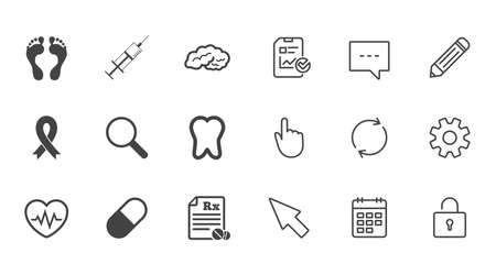 Medicine, medical health and diagnosis icons. Syringe injection, heartbeat and pills signs.