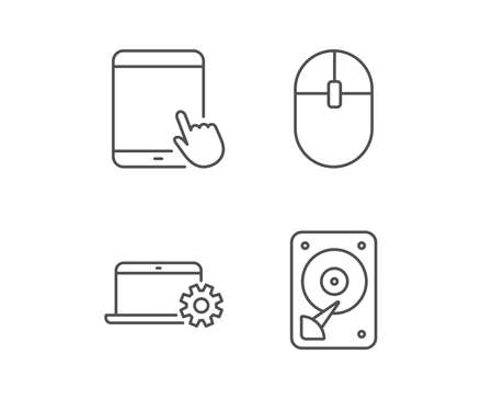Notebook, Hard disk drive and Tablet PC line icons. Computer Mouse sign. Mobile devices. Illustration