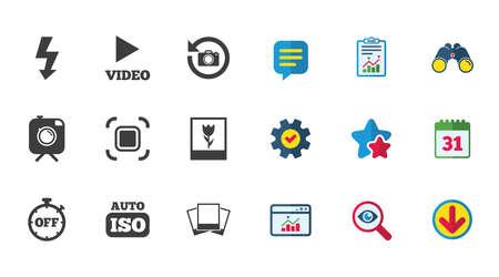 Foto, Videoikonen. Kamera, Fotos und Rahmenzeichen. Flash-, Timer- und Makrosymbole. Standard-Bild - 83395674