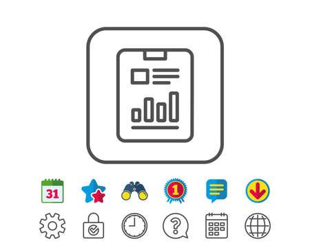 문서 라인 아이콘을보고하십시오. 분석 차트 또는 판매 성장 기호입니다. 통계 데이터 기호입니다. 달력, 글로브 및 채팅 줄 표지판. 쌍안경, 수상 및