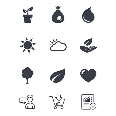 Garden sprout, leaf icons. Nature and weather signs. Sun, cloud and tree symbols. Customer service, Shopping cart and Report line signs. Online shopping and Statistics. Vector