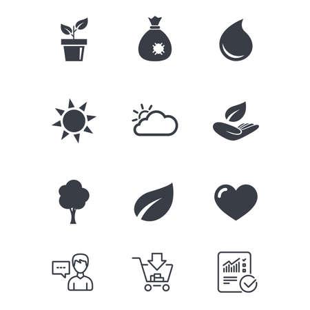 Tuinspruit, bladpictogrammen. Natuur en weerborden. Zon, wolken en boomsymbolen. Klantenservice, winkelwagen en rapportregels. Online winkelen en statistieken. Vector Stock Illustratie