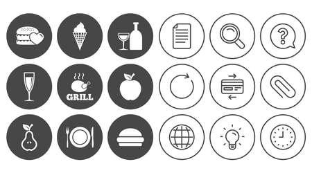Essen, trinken Symbole. Grill-, Burger- und Eisschilder. Hühner-, Champagner- und Apfelsymbole. Zeichen-, Globe- und Clock-Linienzeichen. Symbole für Lampen, Lupen und Büroklammern. Vektor Standard-Bild - 83366724