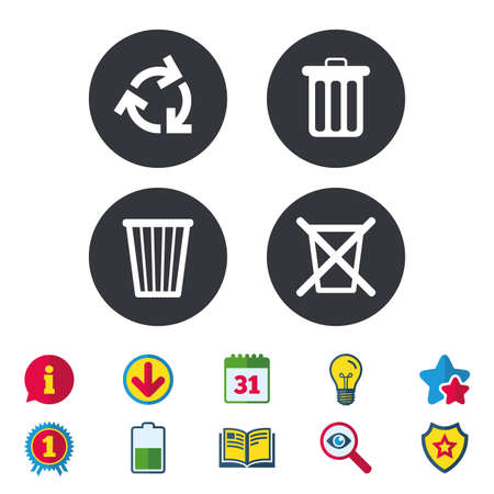 refuse: Recycle bin icons. Reuse or reduce symbols. Trash can and recycling signs. Calendar, Information and Download signs. Stars, Award and Book icons. Light bulb, Shield and Search. Vector