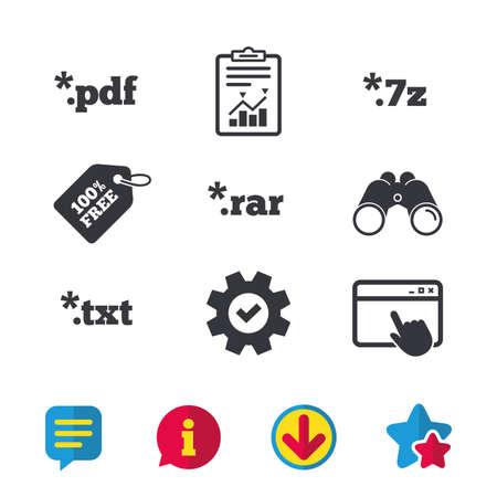 Icônes de document Symboles d'extensions de fichiers. Signaux PDF, RAR, 7z et TXT. Fenêtre du navigateur, panneaux de rapport et de service. Jumelles, informations et icônes de téléchargement. Étoiles et chat. Vecteur Banque d'images - 83366728