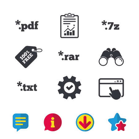 Document icons. File extensions symbols. PDF, RAR, 7z and TXT signs. Browser window, Report and Service signs. Binoculars, Information and Download icons. Stars and Chat. Vector