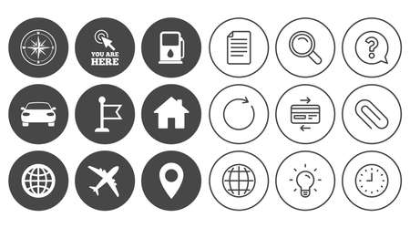 compass rose: Navigation, gps icons. Windrose, compass and map pointer signs. Car, airplane and flag symbols. Document, Globe and Clock line signs. Lamp, Magnifier and Paper clip icons. Vector