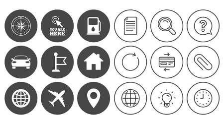 Navigation, GPS-Symbole. Windrose, Kompass und Kartenzeiger. Auto-, Flugzeug- und Flaggensymbole. Dokument, Globus und Uhr Linienschilder. Lampe, Lupe und Büroklammerikonen. Vektor Standard-Bild - 83366736