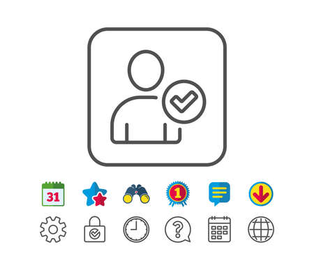 Checked User line icon. Profile Avatar with Tick sign. Person silhouette symbol. Calendar, Globe and Chat line signs. Binoculars, Award and Download icons. Editable stroke. Vector