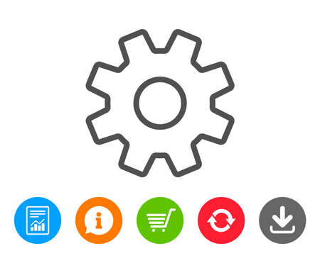Cogwheel line icon. Service sign. Transmission Rotation Mechanism symbol. Report, Information and Refresh line signs. Shopping cart and Download icons. Editable stroke. Vector Иллюстрация