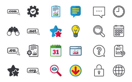 dns: Top-level internet domain icons. Com, Eu, Net and Org symbols with cursor pointer. Unique DNS names. Chat, Report and Calendar signs. Stars, Statistics and Download icons. Question, Clock and Globe Illustration