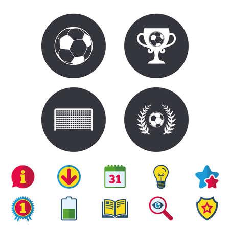 Voetbal pictogrammen. Voetbal sport teken. Keeper poort symbool. Winnaar award beker en lauwerkrans. Kalender, informatie en downloadborden. Pictogrammen voor sterren, awards en boeken. Gloeilamp, schild en zoeken Stock Illustratie