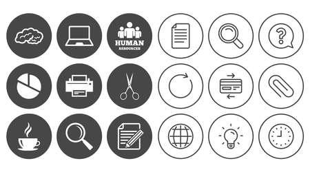 オフィス、ドキュメント、ビジネス アイコン。人事部、ノート パソコンとプリンターの兆候。はさみ、拡大鏡、コーヒーのシンボル。ドキュメント