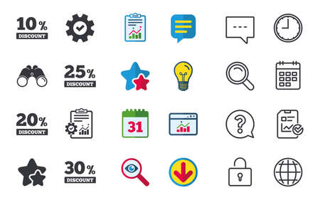five star: Sale discount icons. Special offer price signs. 10, 20, 25 and 30 percent off reduction symbols. Chat, Report and Calendar signs. Stars, Statistics and Download icons. Question, Clock and Globe