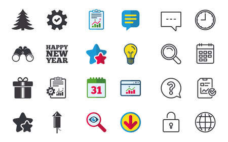 calendar icon: Happy new year icon. Christmas tree and gift box signs. Fireworks rocket symbol. Chat, Report and Calendar signs. Stars, Statistics and Download icons. Question, Clock and Globe. Vector