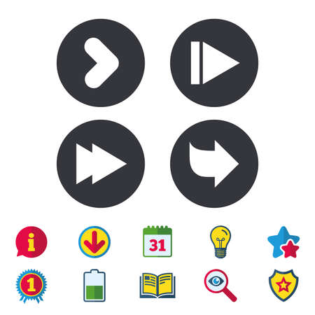 calendar icon: Arrow icons. Next navigation arrowhead signs. Direction symbols. Calendar, Information and Download signs. Stars, Award and Book icons. Light bulb, Shield and Search. Vector