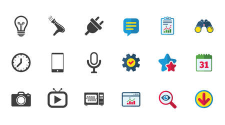Home appliances, device icons. Electronics signs. Lamp, electrical plug and photo camera symbols. Calendar, Report and Download signs. Stars, Service and Search icons. Statistics, Binoculars and Chat Illustration