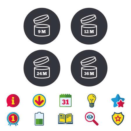 開封後のアイコンを使用します。製品の 9-36 ヶ月有効期限では、シンボルを署名します。食料品項目の貯蔵寿命。カレンダー、情報およびダウンロードに署名します。星、賞および本のアイコン。ベクトル 写真素材 - 83637286