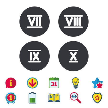 Roman numeral icons. 7, 8, 9 and 10 digit characters. Ancient Rome numeric system. Calendar, Information and Download signs. Stars, Award and Book icons. Light bulb, Shield and Search. Vector