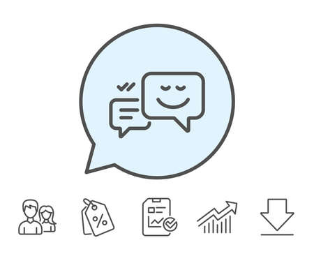 笑顔線アイコンに吹き出しをメッセージします。チャット感情のサイン。レポート、販売クーポン、グラフ線の標識。ダウンロード、アイコンをグ