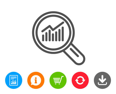 Chart line icon. Report graph or Sales growth sign in Magnifying glass. Analysis and Statistics data symbol. Report, Information and Refresh line signs. Shopping cart and Download icons. Vector Ilustração