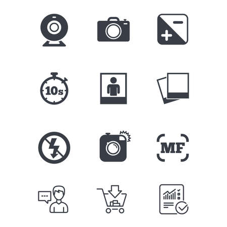 Foto, video iconen. Webcamera, foto's en beeldtekens. Geen flitser, timer en portret symbolen. Klantenservice, Winkelwagentje en Report line signs. Online winkelen en statistieken. Vector