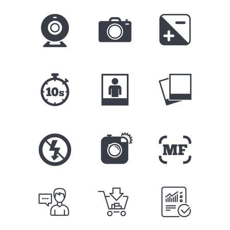 Foto, Videoikonen. Web-Kamera, Fotos und Rahmen Zeichen. Kein Blitz, Timer und Hochformat-Symbole. Kundendienst, Einkaufswagen und Berichtslinie Zeichen. Online-Shopping und Statistiken. Vektor Standard-Bild - 83637295