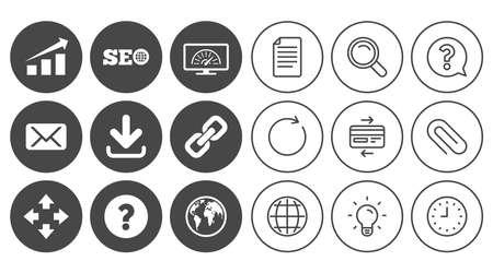 インターネット、seo アイコン。帯域幅の速度は、ダウンロードの矢印とメールの兆候。ハイパーリンク、シンボルを監視します。ドキュメント、グローブとクロック ラインの標識。ランプ、拡大鏡、紙クリップのアイコン。ベクトル 写真素材 - 83636874