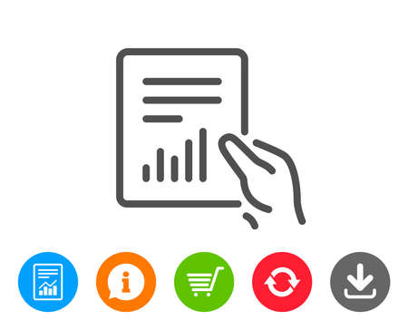 Hold Report document line icon. Analysis Chart or Sales growth sign. Statistics data symbol. Report, Information and Refresh line signs. Shopping cart and Download icons. Editable stroke. Vector Illustration