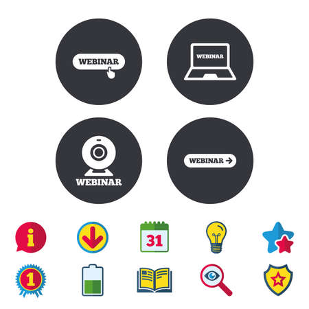 Webinar icons. Web camera and notebook pc signs. Website e-learning or online study symbols. Calendar, Information and Download signs. Stars, Award and Book icons. Light bulb, Shield and Search