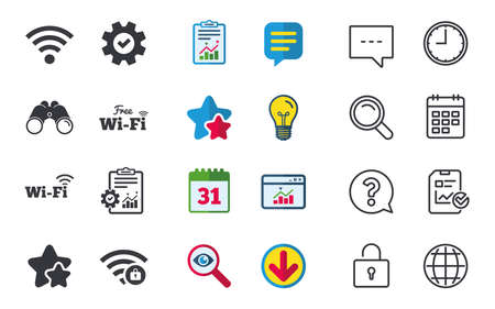 calendar icon: Free Wifi Wireless Network icons. Wi-fi zone locked symbols. Password protected Wi-fi sign. Chat, Report and Calendar signs. Stars, Statistics and Download icons. Question, Clock and Globe. Vector