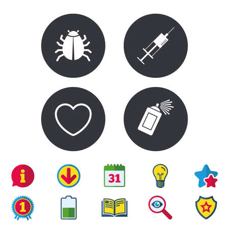 Bug and vaccine syringe injection icons. Heart and spray can sign symbols. Calendar, Information and Download signs. Stars, Award and Book icons. Light bulb, Shield and Search. Vector Illustration