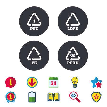 ペット、Ld pe と pe の Hd アイコン。高密度ポリエチレン テレフタ レートの看板。リサイクルのシンボル。カレンダー、情報およびダウンロードに署