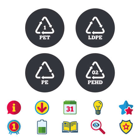 PET, Ld-pe and Hd-pe icons. High-density Polyethylene terephthalate sign. Recycling symbol. Calendar, Information and Download signs. Stars, Award and Book icons. Light bulb, Shield and Search. Vector Illustration