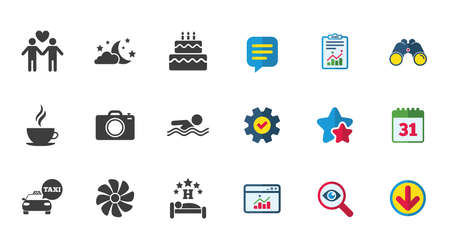 Hotel, apartment service icons. Swimming pool. Ventilation, birthday party and gay-friendly symbols. Calendar, Report and Download signs. Stars, Service and Search icons. Vector